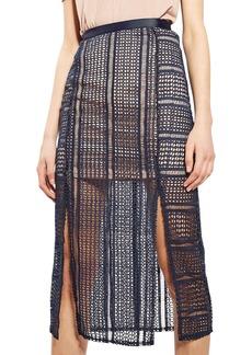 Topshop Split Geo Lace Midi Skirt