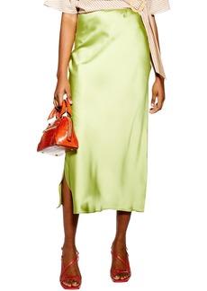 Topshop Split Side Bias Midi Skirt