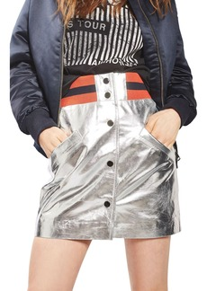 Topshop Sport Metallic Leather Miniskirt