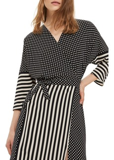 Topshop Spot & Stripe Mix Wrap Dress