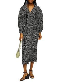 Topshop Spot Drama Long Sleeve Wrap Midi Dress