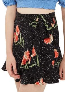 Topshop Spot Flower Ruffle Miniskirt