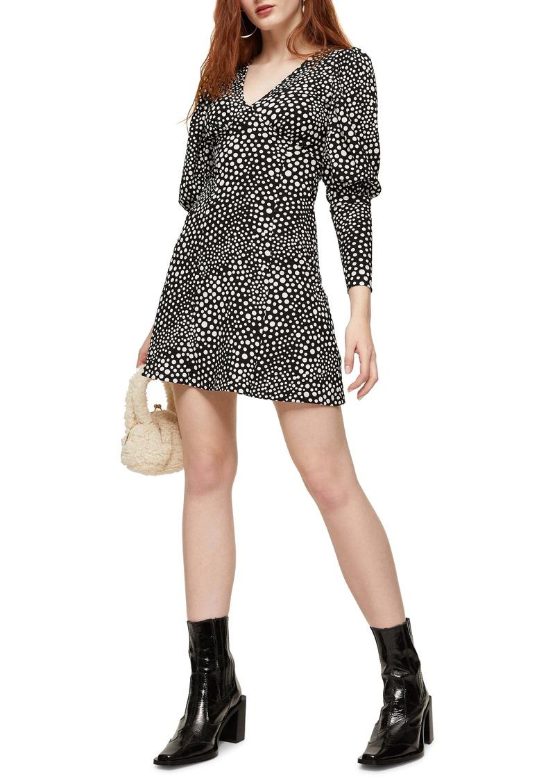 Topshop Spot Plunge Long Sleeve Minidress