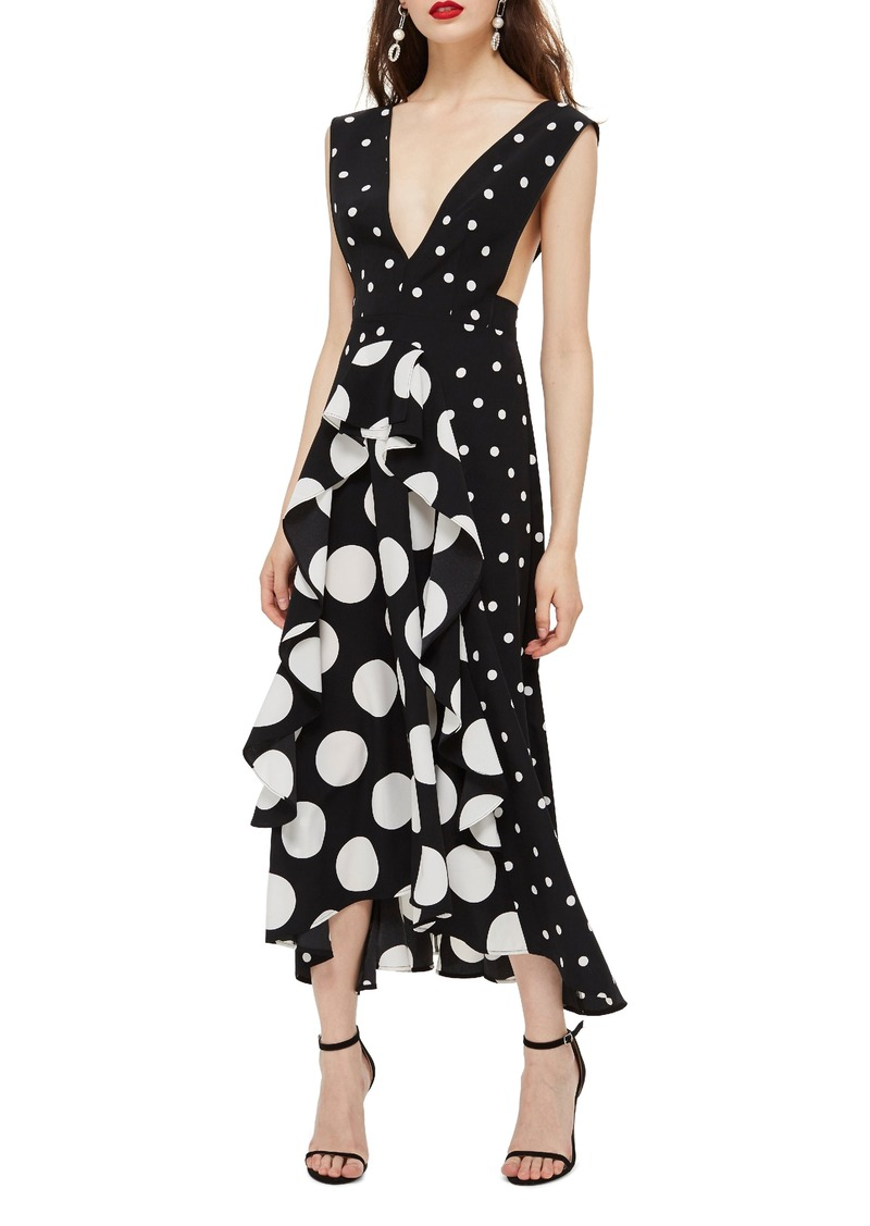 Topshop Spot Plunge Neck Midi Dress