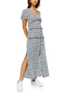 Topshop Spot Print Button Midi Dress
