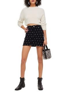 Topshop Spot Print Corduroy Skirt