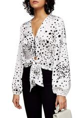 Topshop Spot Print Tie Hem Blouse (Regular & Petite)