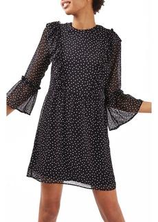 Topshop Spot Ruffle Flute Dress