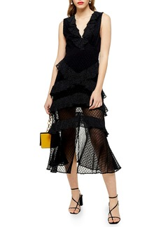 Topshop Spot Ruffle Midi Dress