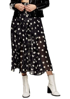 Topshop Spot Ruffle Midi Skirt