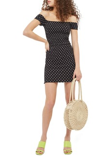 Topshop Spot Shirred Body-Con Dress