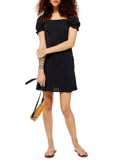 Topshop Square Neck Jacquard Minidress (Petite)