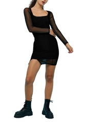 Topshop Square Neck Long Sleeve Mesh Minidress
