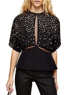 Topshop Star Embellished Open Back Top