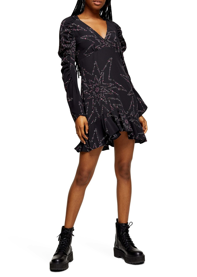 Topshop Star Long Sleeve Minidress