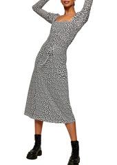 Topshop Star Print Long Sleeve Mesh Dress