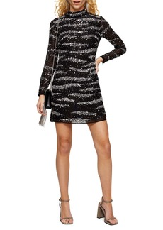 Topshop Star Sequin Long Sleeve Minidress