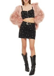 Topshop Star Studded Denim Skirt