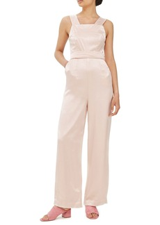 Topshop Strap Back Satin Jumpsuit