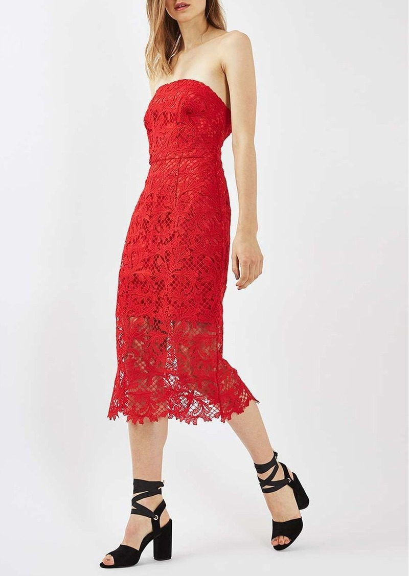 Topshop Strapless Lace Midi Dress