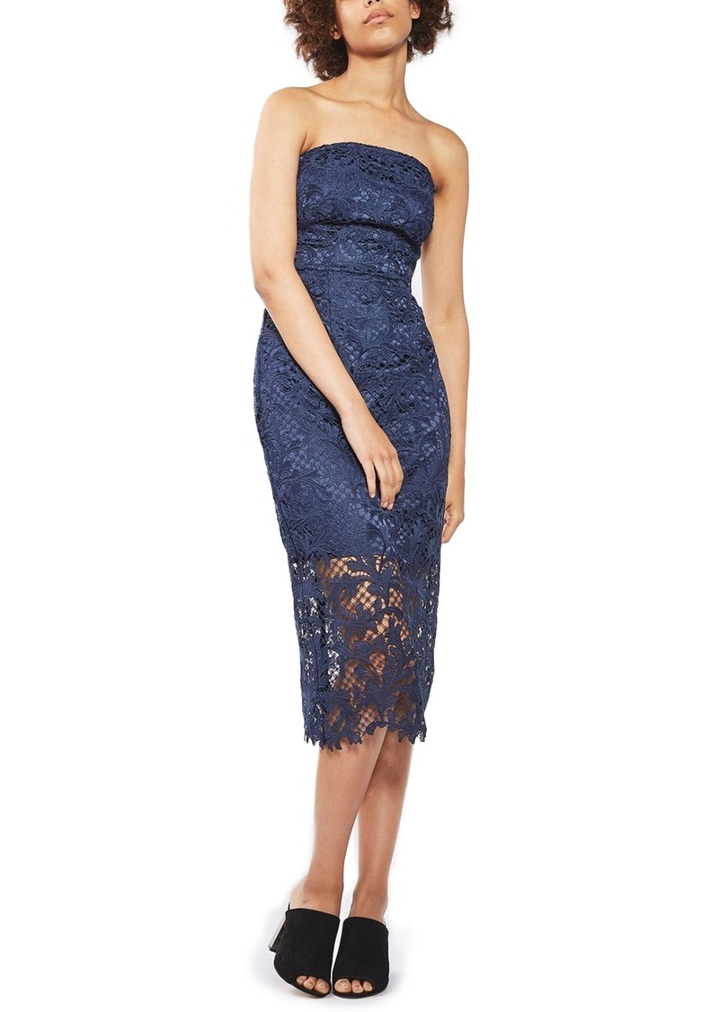 6708678925a Strapless Lace Midi Dress