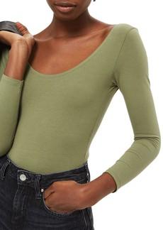 Topshop Stretch Cotton Long Sleeve Bodysuit