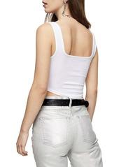 Topshop Stretch Cotton Sleeveless Crop Top