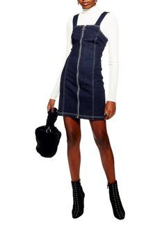 Topshop Stretch Denim Zip Dress