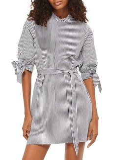 Topshop Stripe Belted Poplin Shift Dress