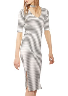 Topshop Stripe Choker Midi Dress