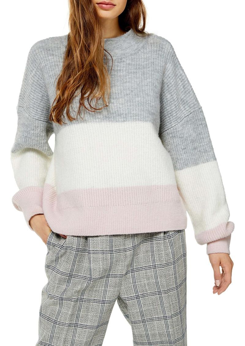 Topshop Stripe Colorblock Sweater