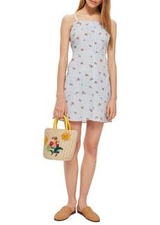 Topshop Stripe Floral Mini Pinafore Dress