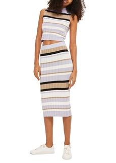Topshop Stripe Knit Midi Skirt