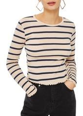 Topshop Petite Stripe Lettuce Trim T-Shirt