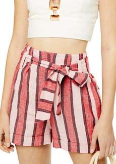 Topshop Stripe Linen Blend Shorts