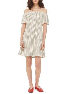 Topshop Stripe Off the Shoulder Minidress
