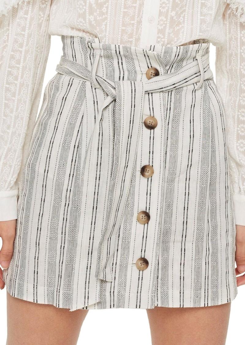 Topshop Stripe Paperbag Miniskirt