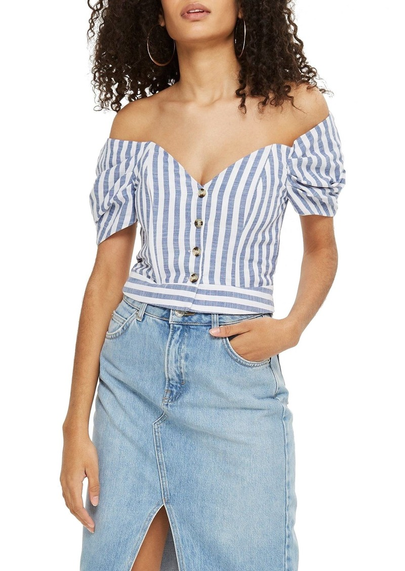 54c0ba8cb5a305 SALE! Topshop Topshop Stripe Puff Sleeve Off the Shoulder Top