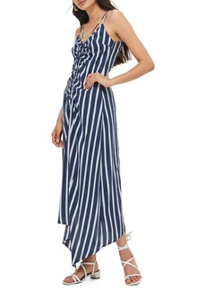 Topshop Stripe Ruched Slipdress