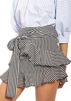 Topshop Stripe Ruffle Miniskirt