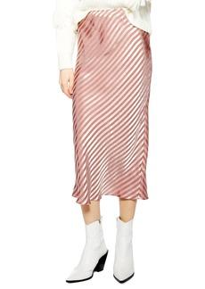 Topshop Stripe Satin Bias Midi Skirt (Regular & Petite)