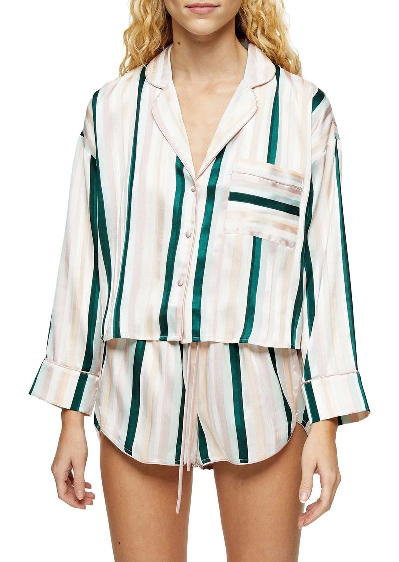 Topshop Stripe Satin Crop Pajama Top