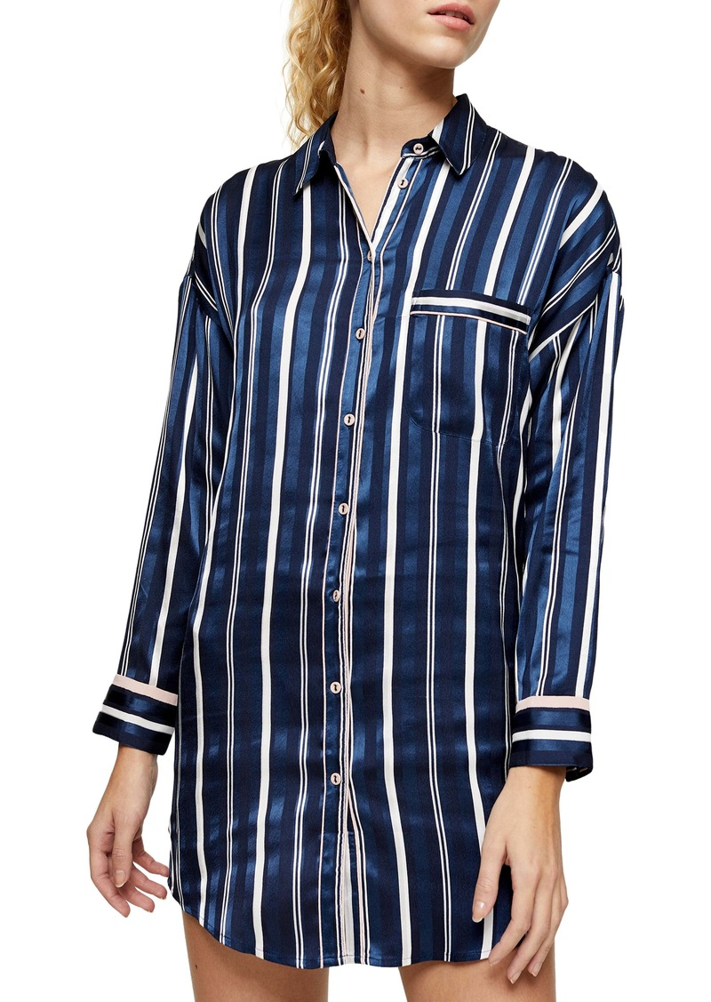 Topshop Stripe Satin Pajama Shirt