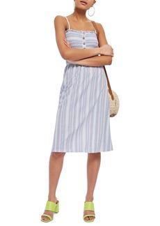 Topshop Stripe Shirred Midi Dress
