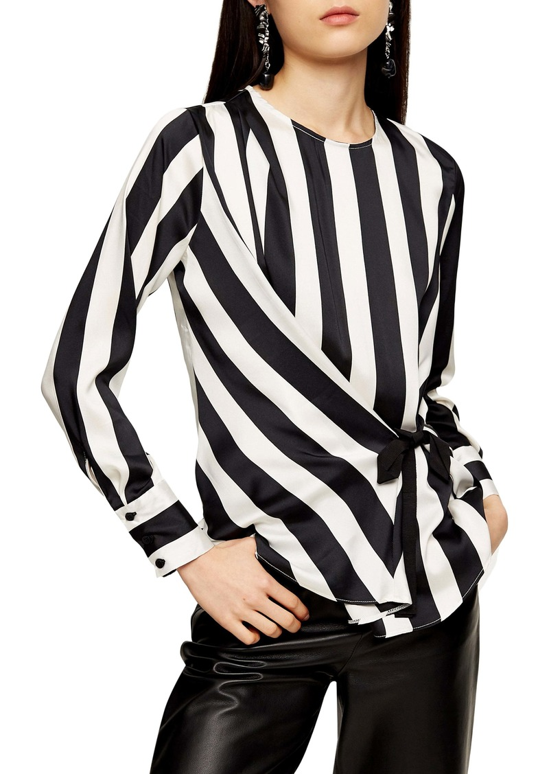 Topshop Stripe Side Tie Blouse