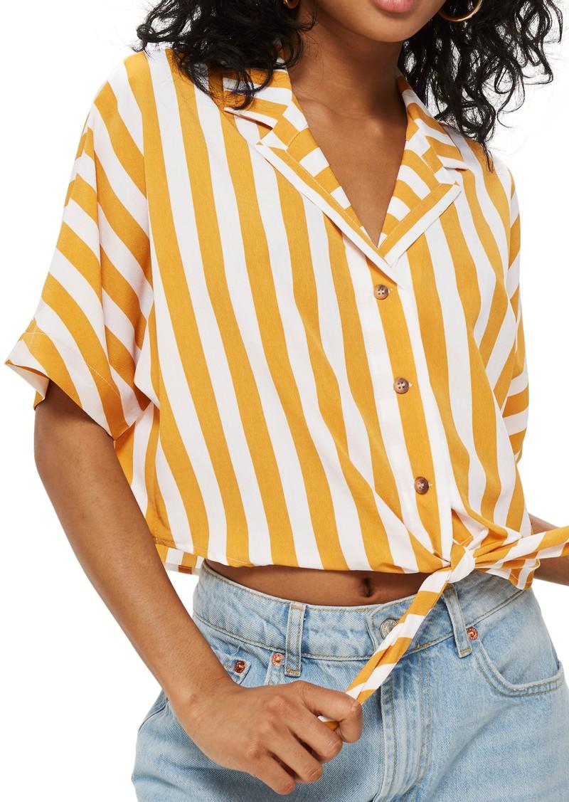 789cd47d32da7 Topshop Topshop Stripe Tie Front Cropped Collar Shirt