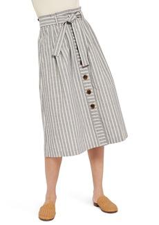 Topshop Stripe Tie Waist Midi Skirt