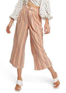 Topshop Stripe Wide Leg Crop Trousers