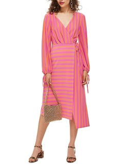 Topshop Stripe Wrap Midi Dress (Regular & Petite)