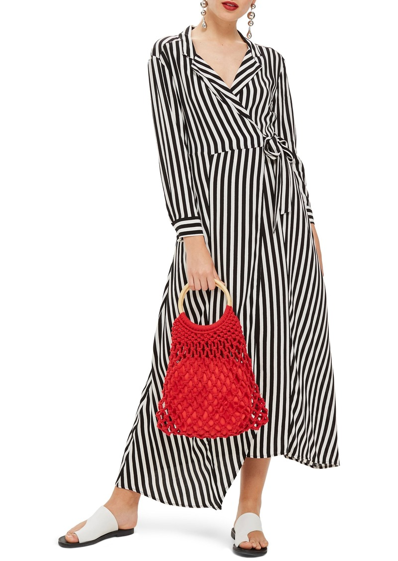 Topshop Stripe Wrap Midi Shirtdress